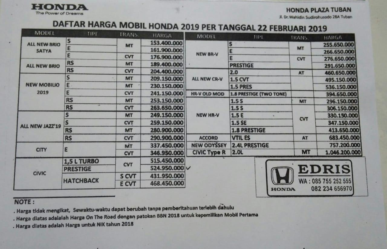 Harga Mobil Honda Edris