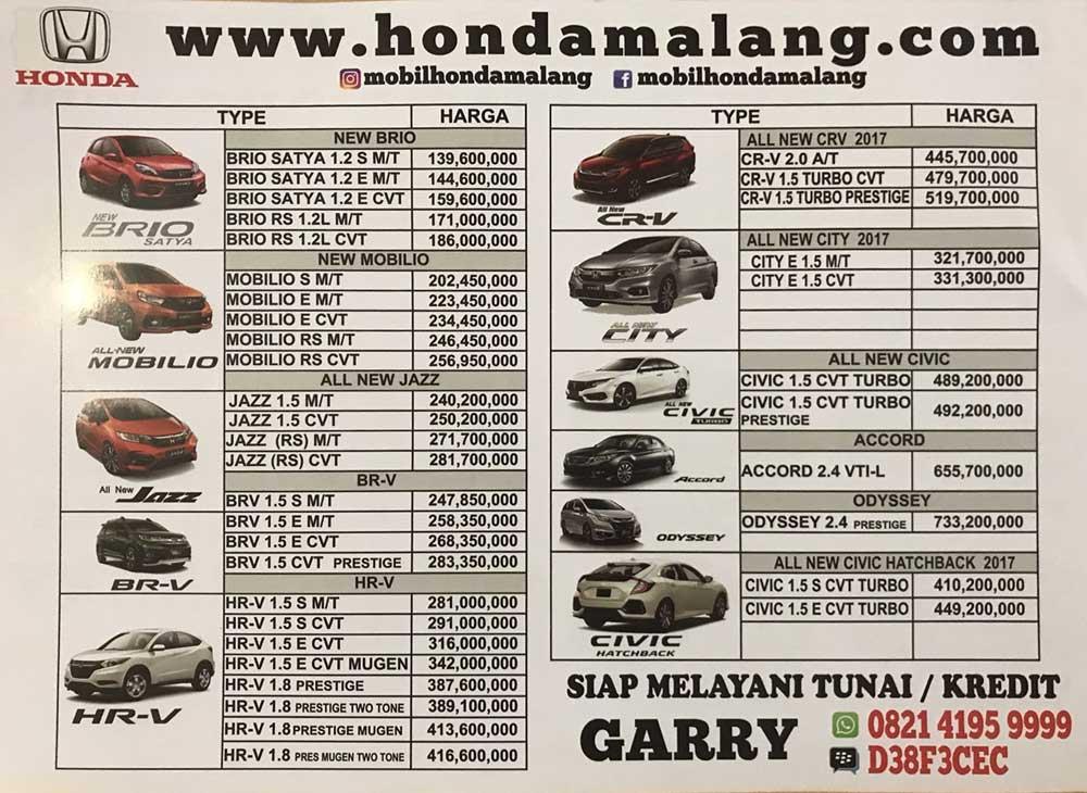 Harga Mobil Honda Malang By Garry