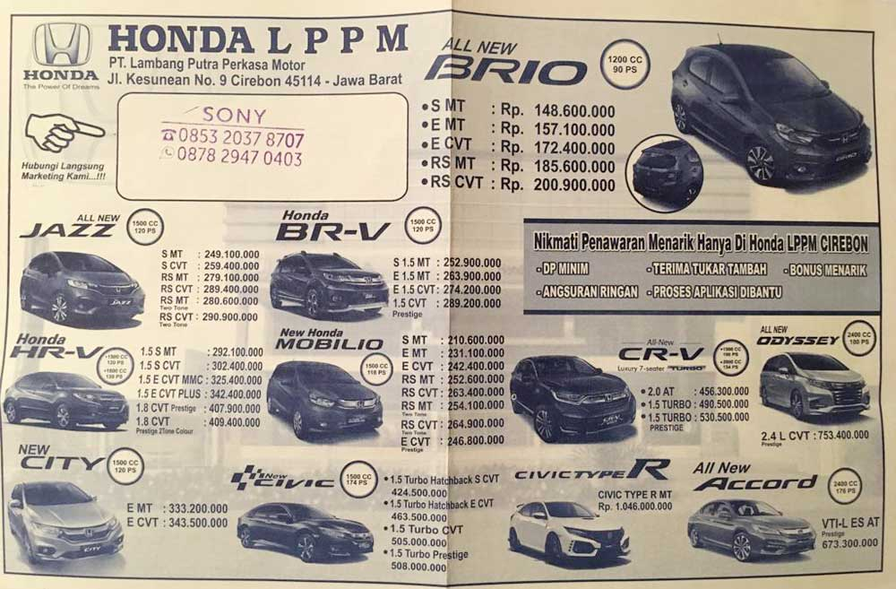 Harga Mobil Honda By Sony