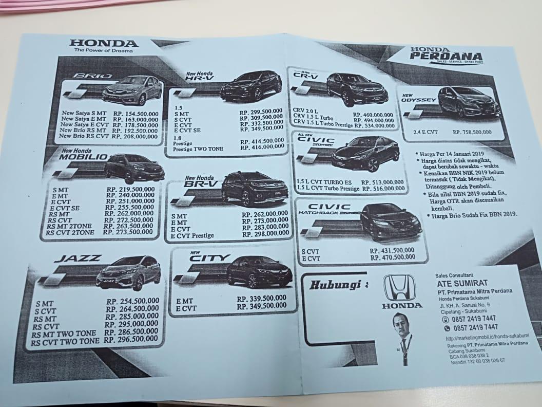 Harga Mobil Honda By Ate